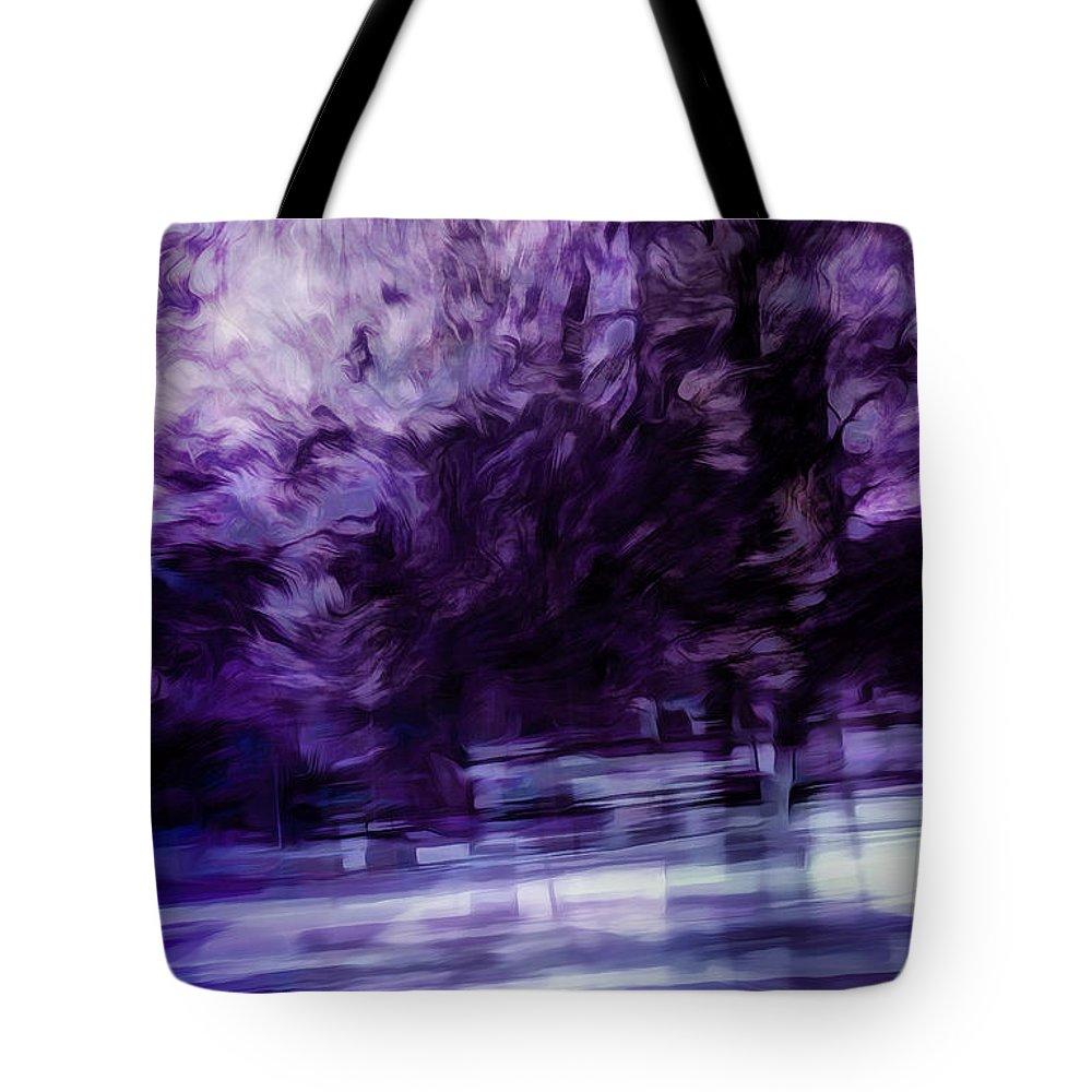 Purple Tote Bag featuring the digital art Purple Fire by Scott Norris