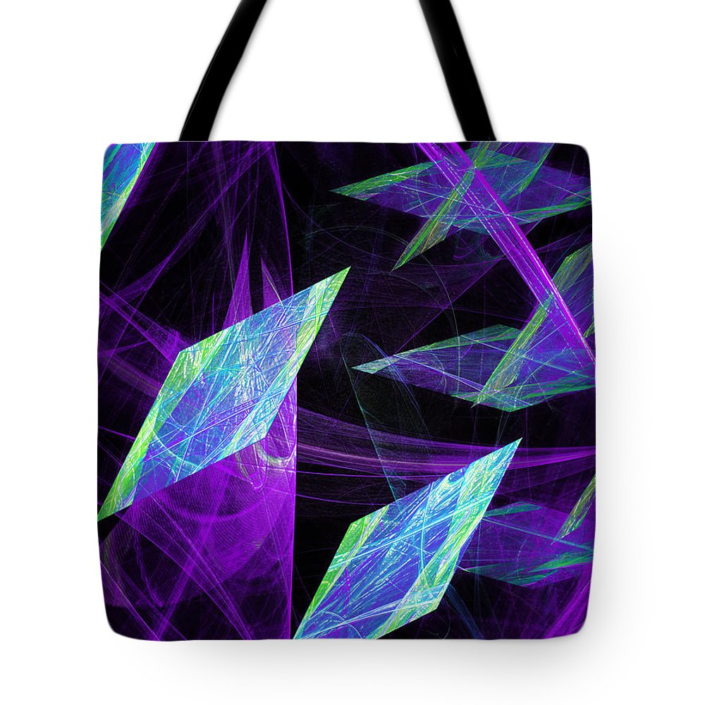 Abstract Tote Bag featuring the digital art Purple Floating Diamonds by Andee Design