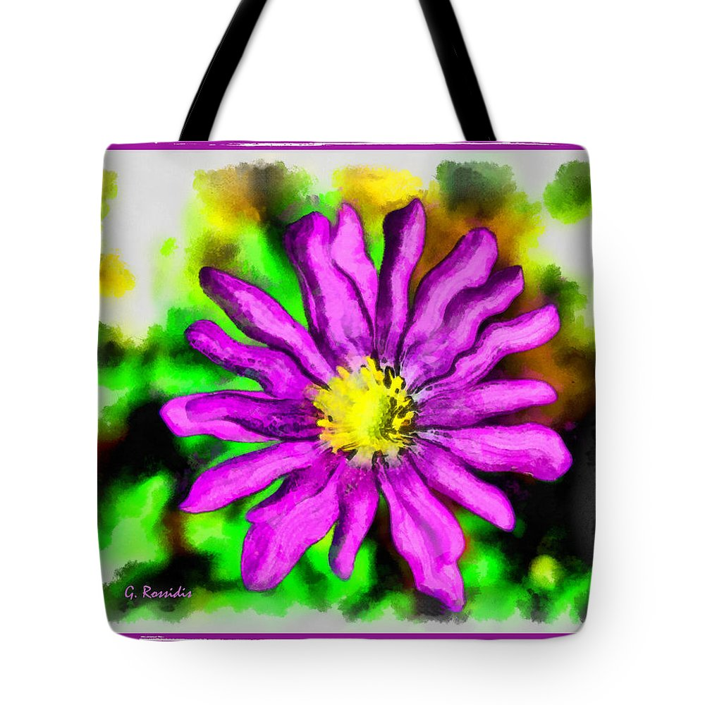 Purple Flower Tote Bag featuring the painting Purple Flower by George Rossidis