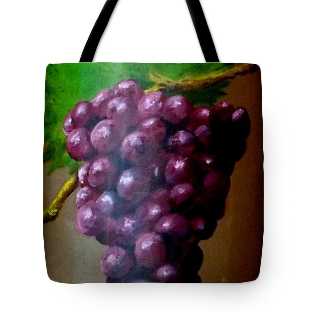 Terra Cotta Tile Tote Bag featuring the painting Purple Grapes On Terra Cotta by Gino Didio