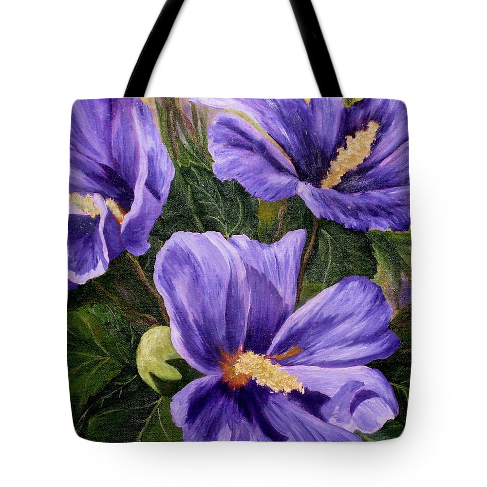 Hibiscus Tote Bag featuring the painting Purple Hibiscus by Darla Brock