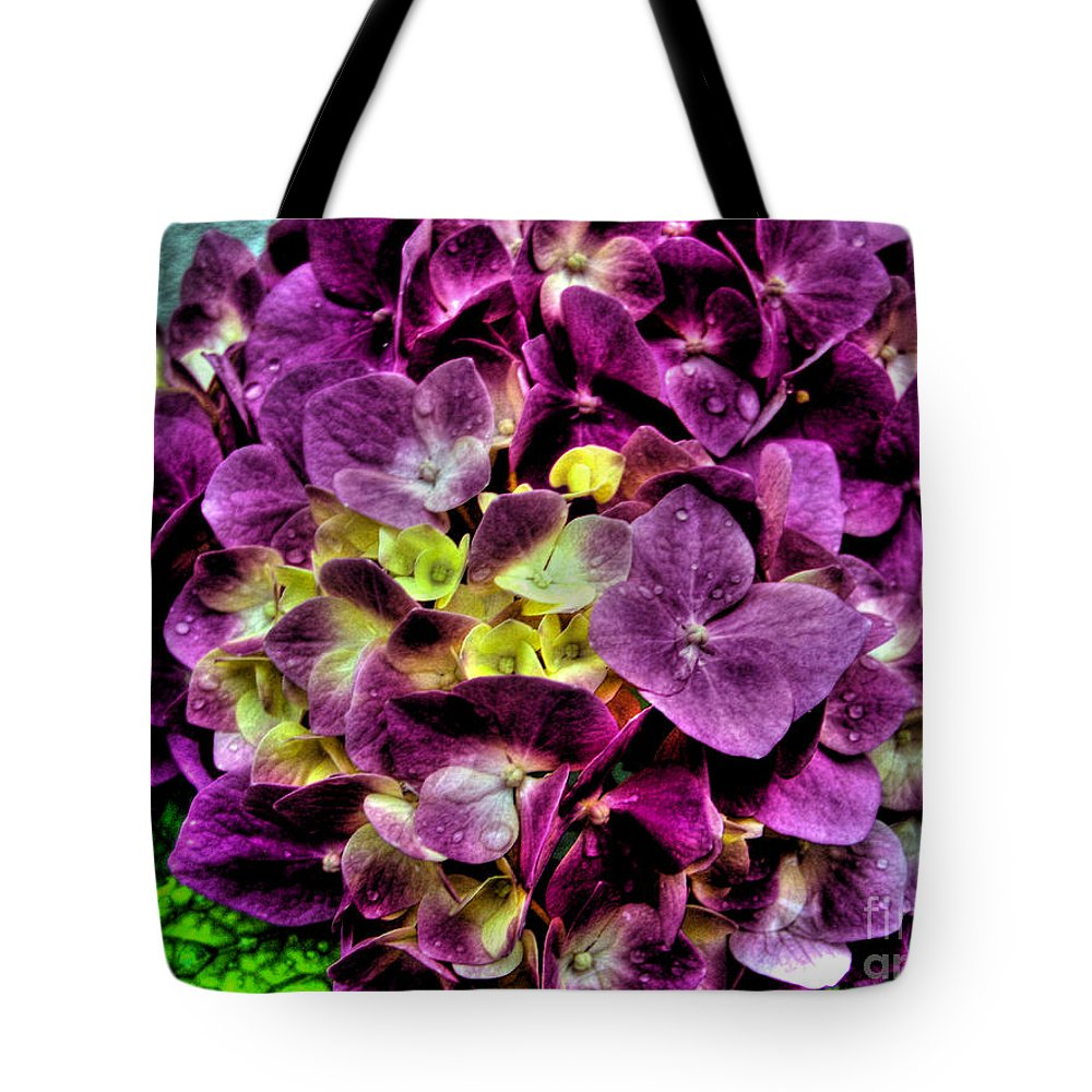 Hortensia Tote Bag featuring the photograph Purple Hortensia After Summer Rain by Nina Ficur Feenan