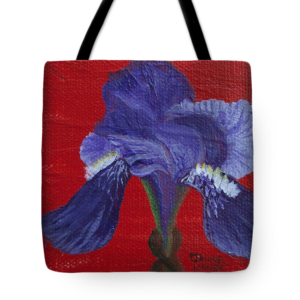 Red Tote Bag featuring the painting Purple Iris by Jaime Haney