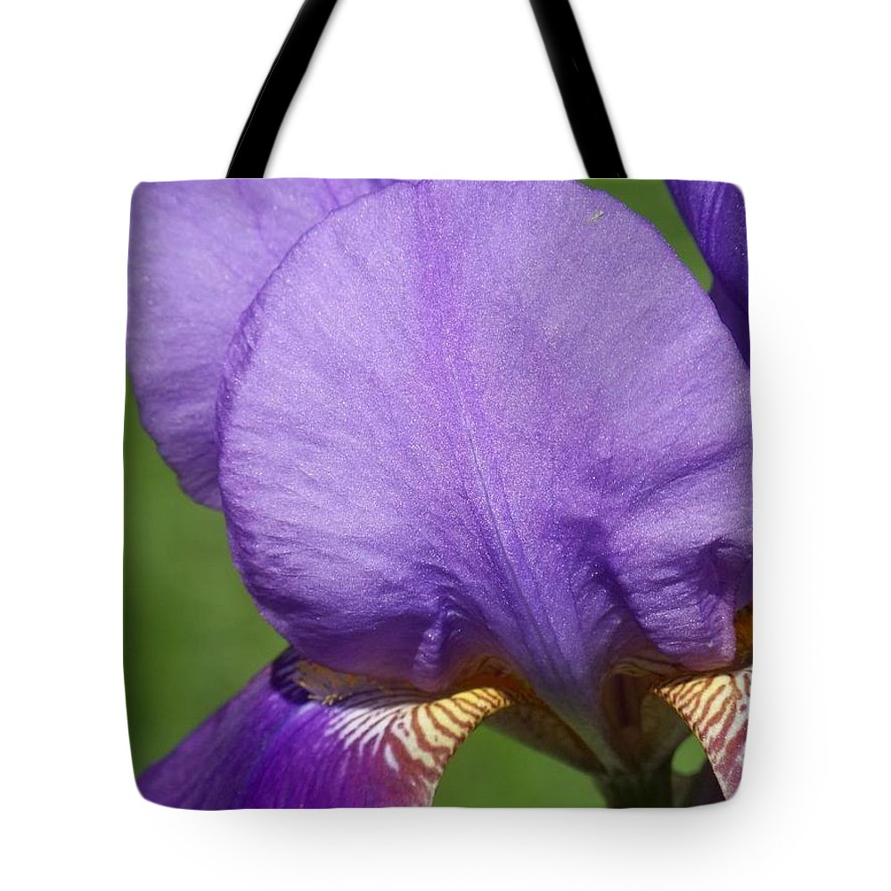 Iris Tote Bag featuring the photograph Purple Iris Love by Michele Nelson