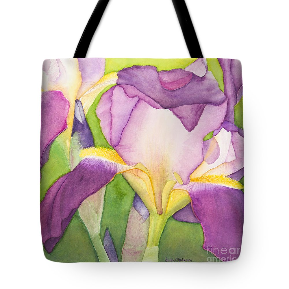 Flowers Tote Bag featuring the painting Purple Irises by Sandra Neumann Wilderman
