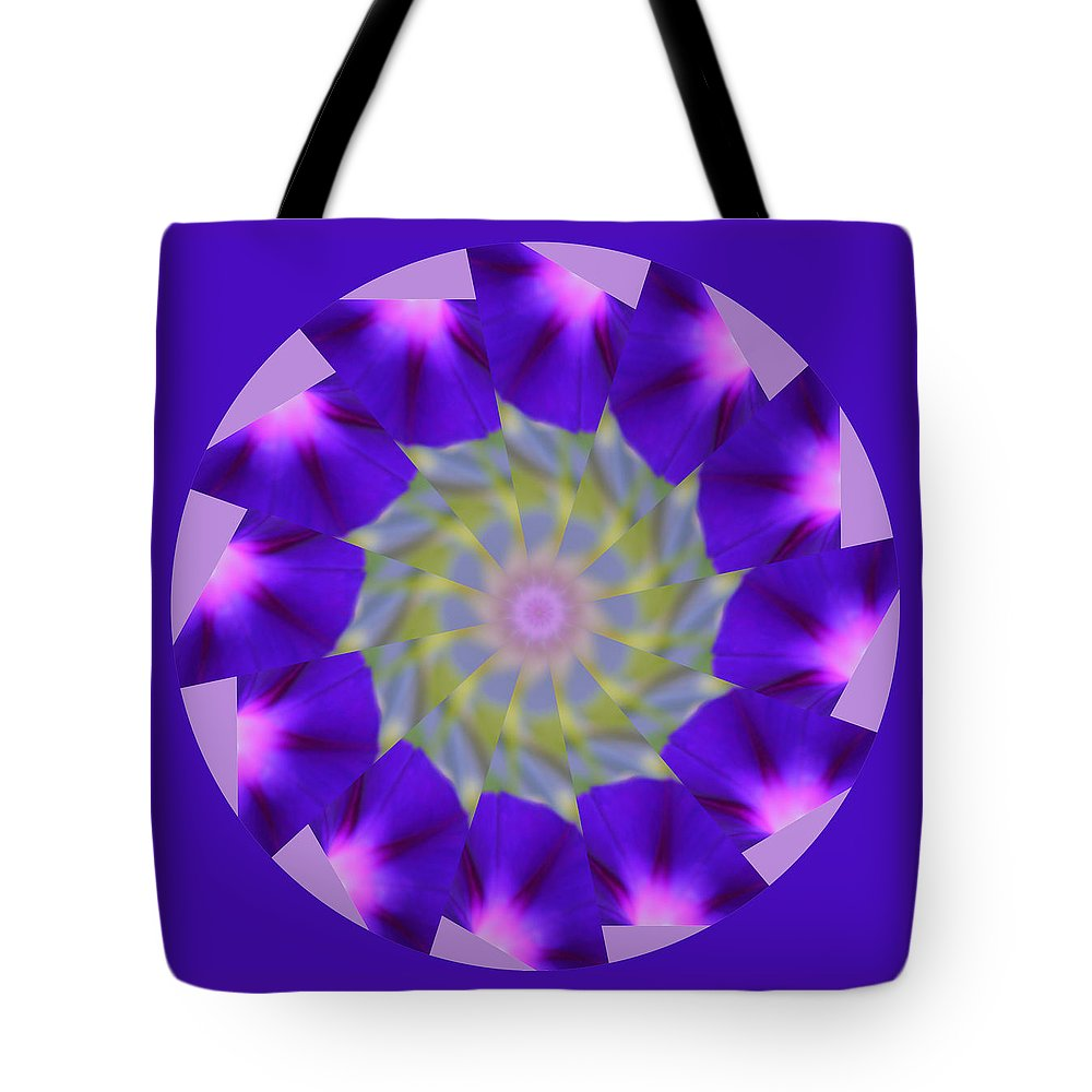 Purple Tote Bag featuring the photograph Purple Morning Glory Kaleidoscope by Kristy Jeppson