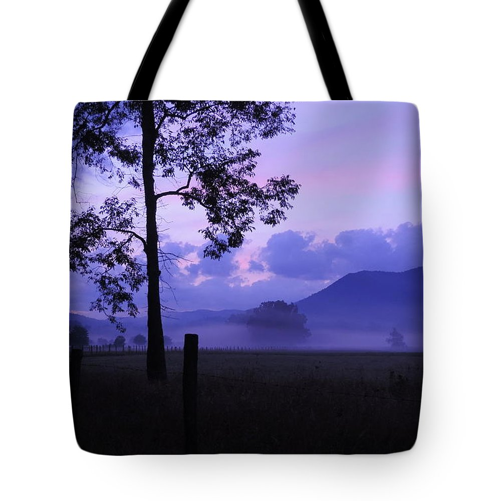 Cades Cove Tote Bag featuring the photograph Purple Mountain Majesty by Roe Rader
