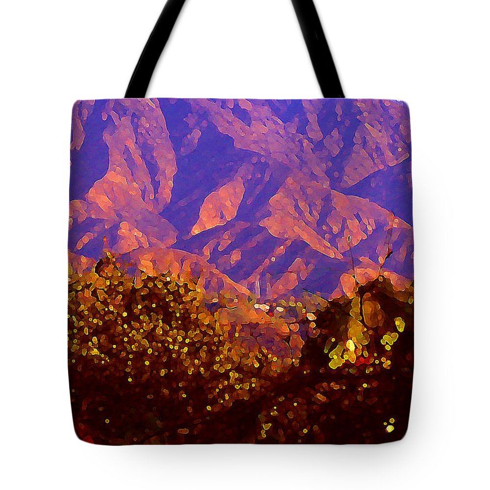 Landscapes Tote Bag featuring the painting Purple Mountains Majesty by Amy Vangsgard