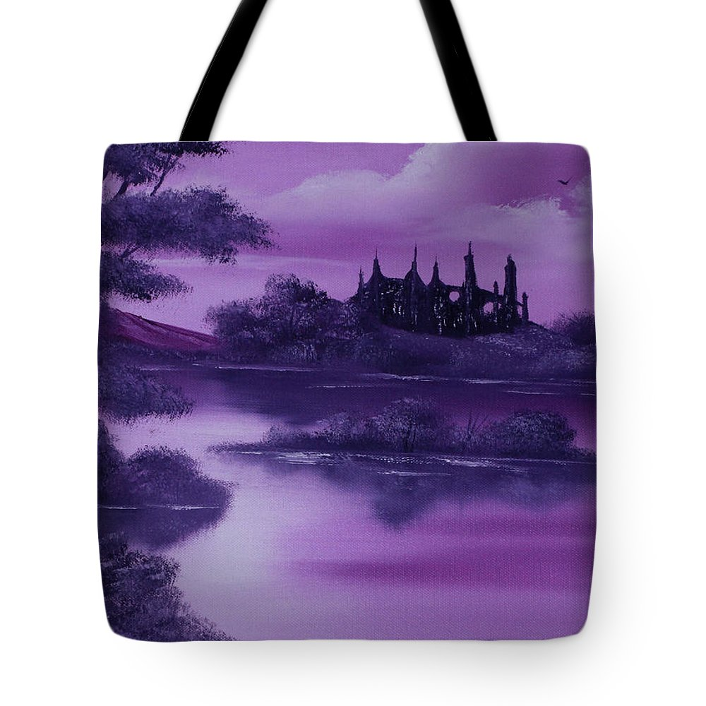Landscape Tote Bag featuring the painting Purple Palace For Sale by Cynthia Adams
