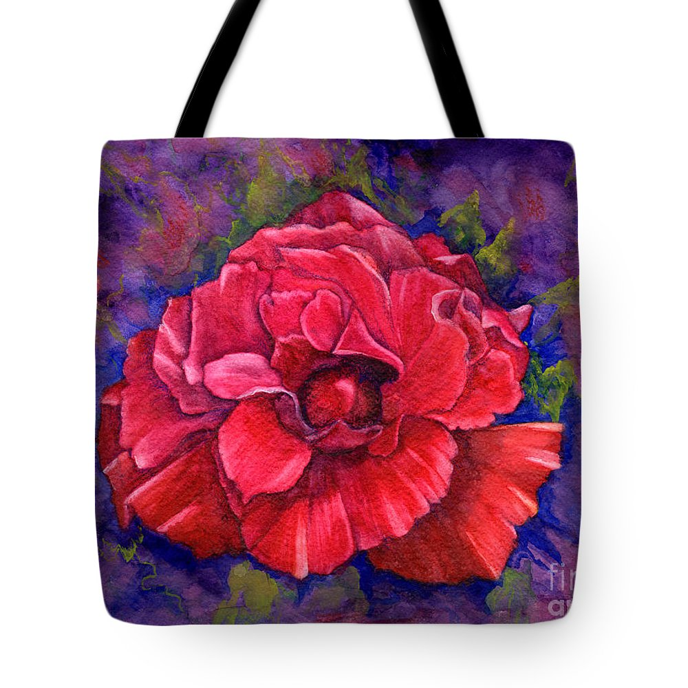 Red Rose Tote Bag featuring the painting Purple Passion by Nancy Cupp