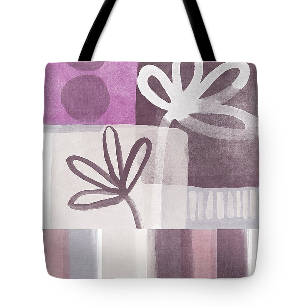 Hope Tote Bag featuring the mixed media Purple Patchwork- Contemporary Art by Linda Woods