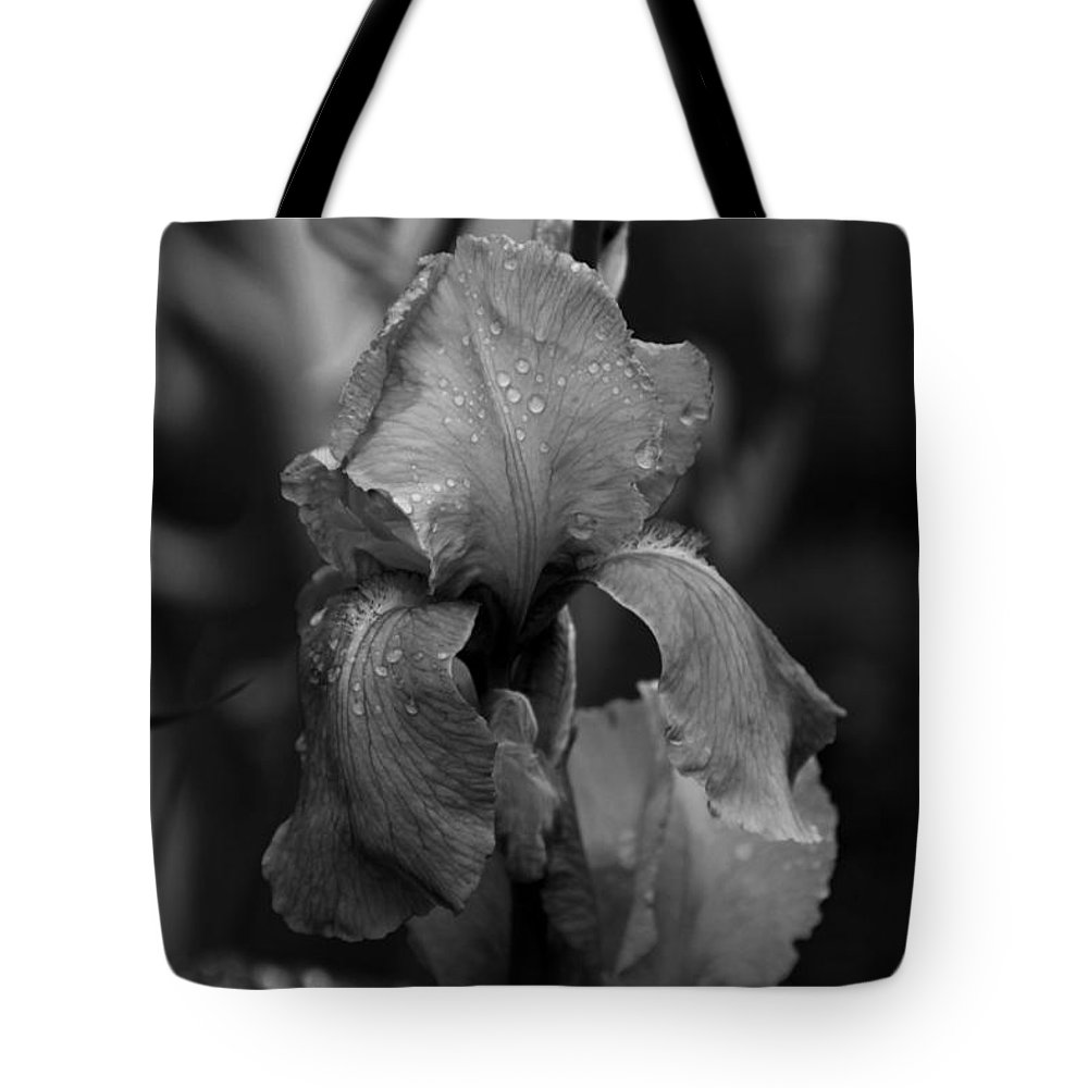 Iris Tote Bag featuring the photograph Purple Rain In Black And White by Jeanette C Landstrom