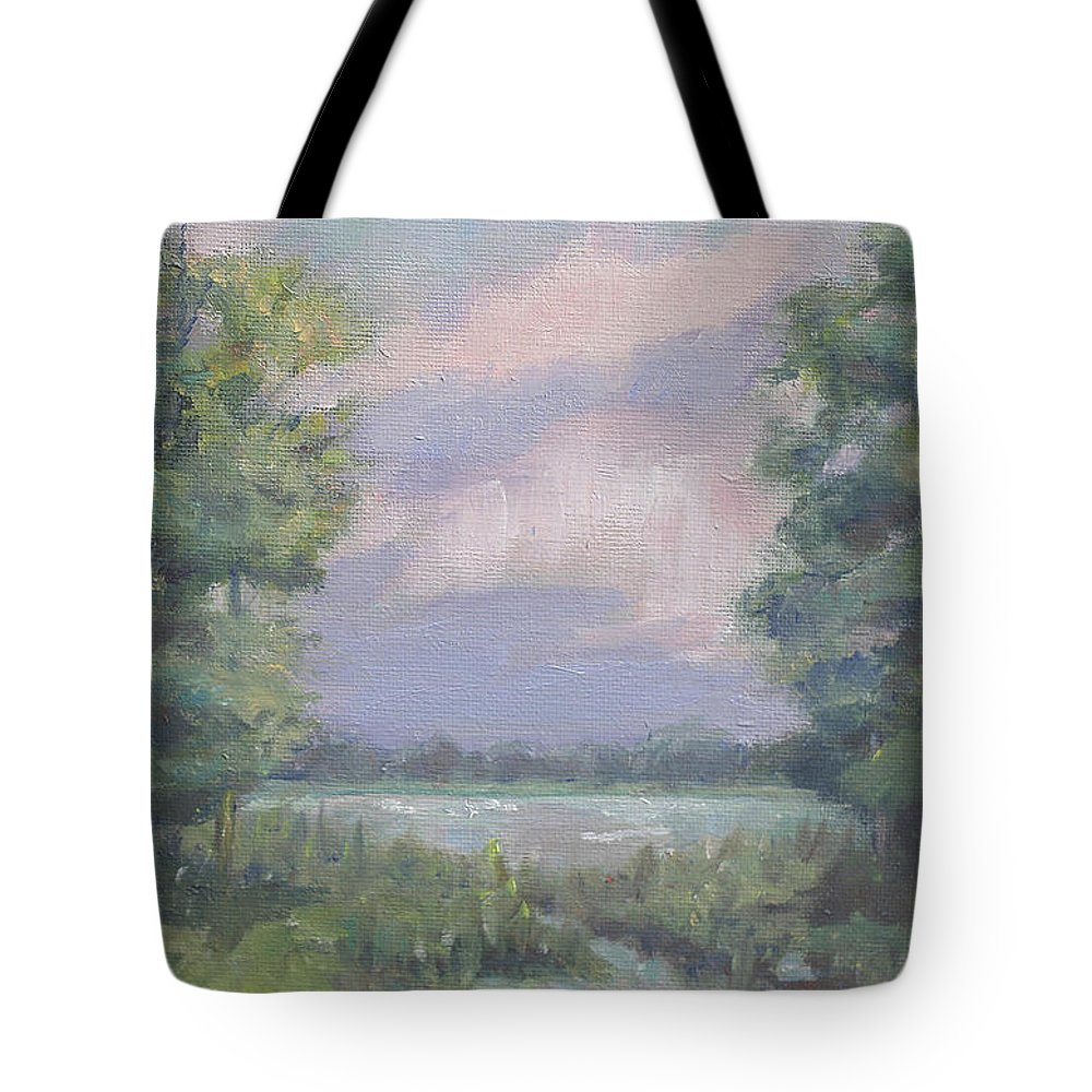 Painting Tote Bag featuring the painting Purple Sky by Sarah Parks