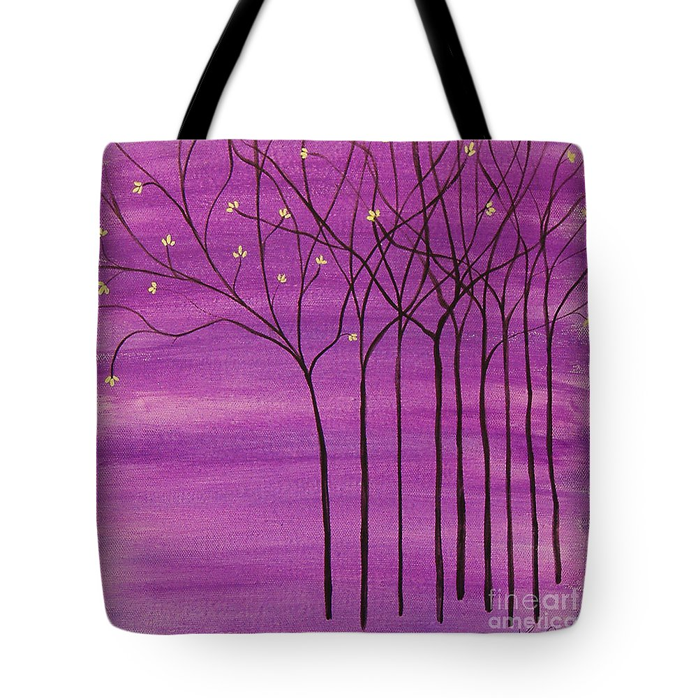 Trees Tote Bag featuring the painting Purple Spring by Lee Owenby