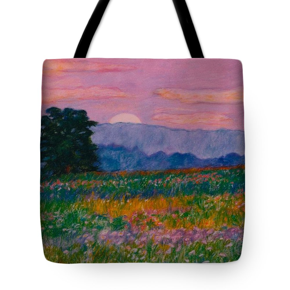 Kendall Kessler Tote Bag featuring the painting Purple Sunset On The Blue Ridge by Kendall Kessler