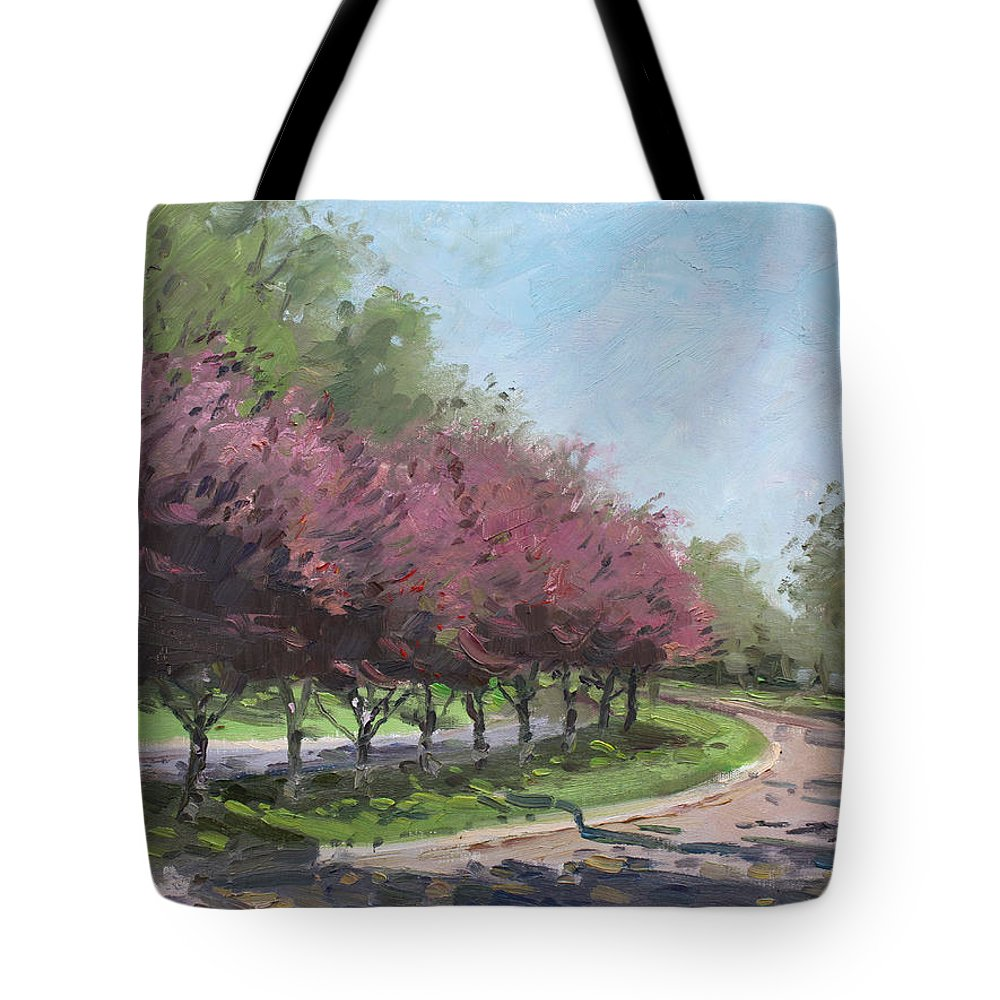 Purple Trees Tote Bag featuring the painting Purple Trees by Ylli Haruni