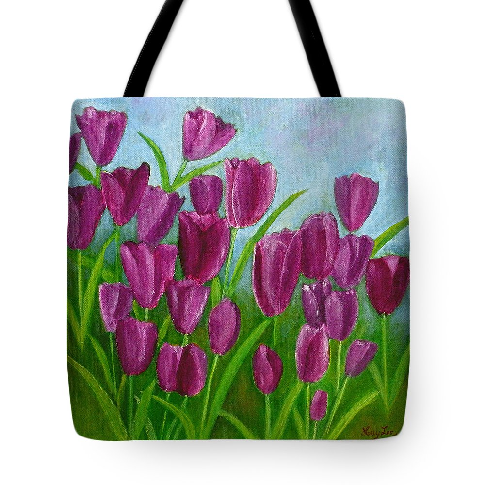Purple Tulips Tote Bag featuring the painting Purple Tulips by Huy Lee