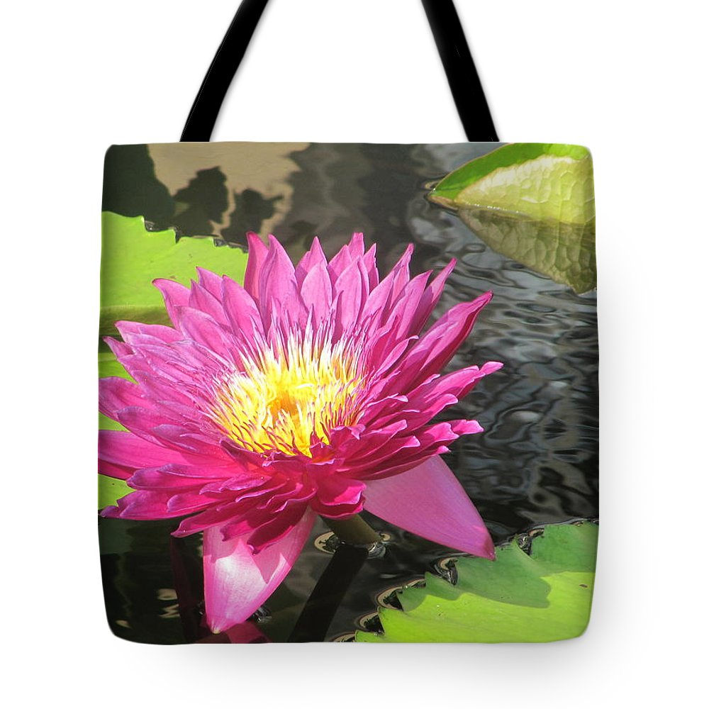 Water Tote Bag featuring the photograph Purple Water Lily by Richard Reeve