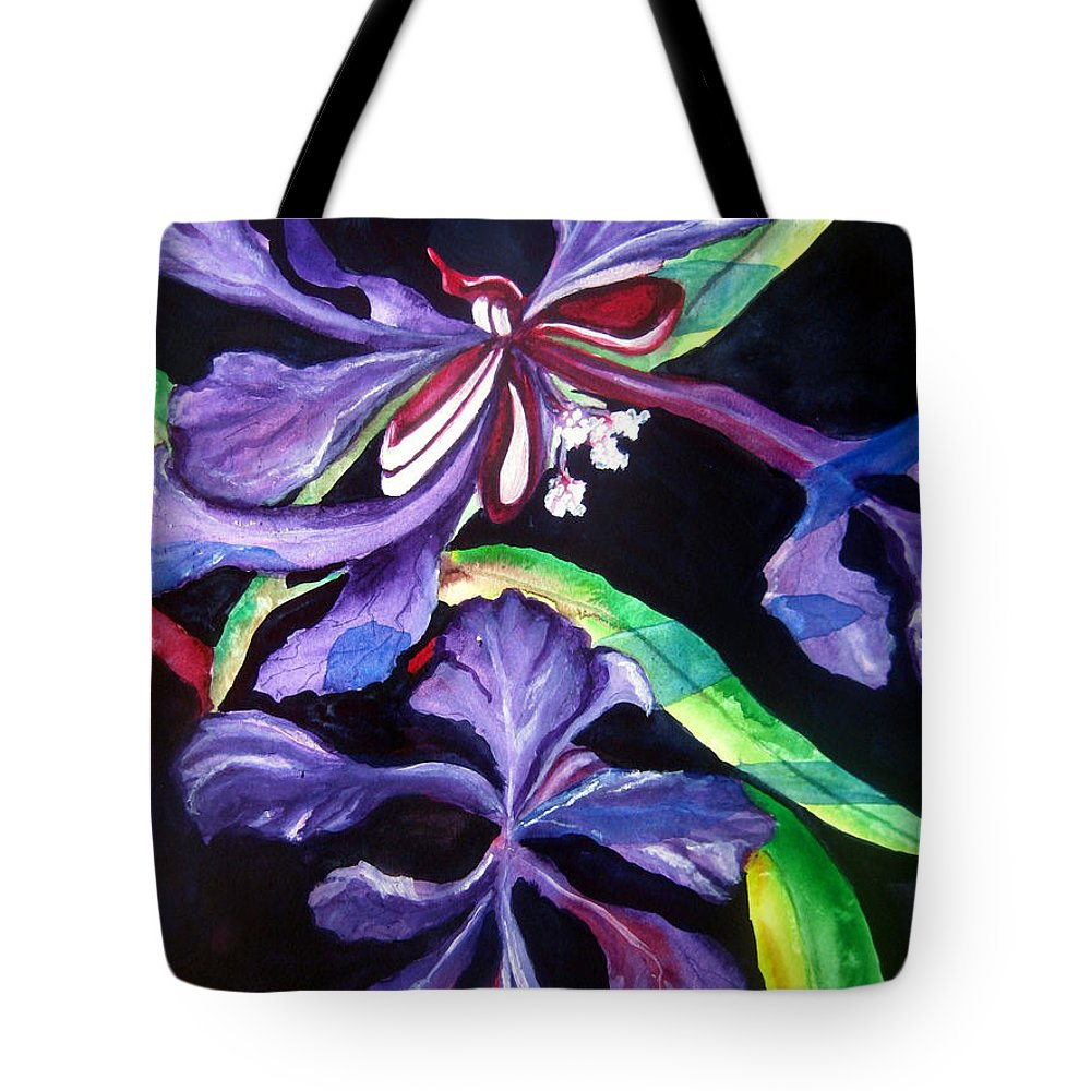 Purple Flower Tote Bag featuring the painting Purple Wildflowers by Lil Taylor