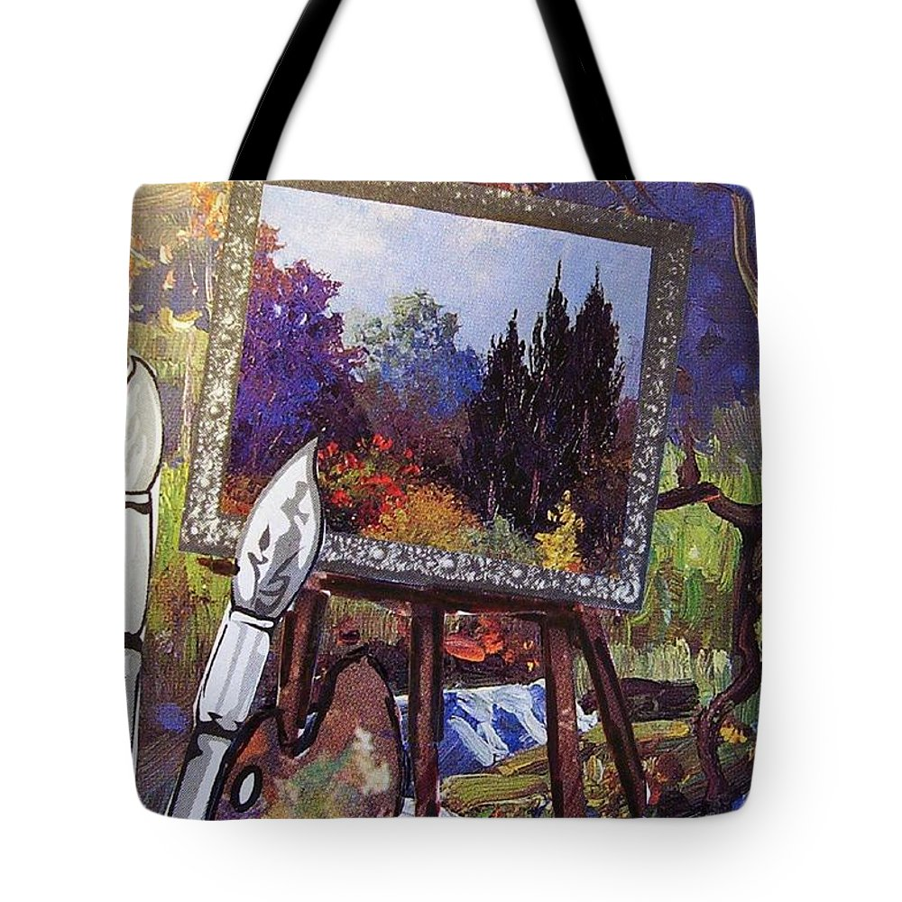 Easel Tote Bag featuring the painting Put Color In Your Life by Eloise Schneider Mote