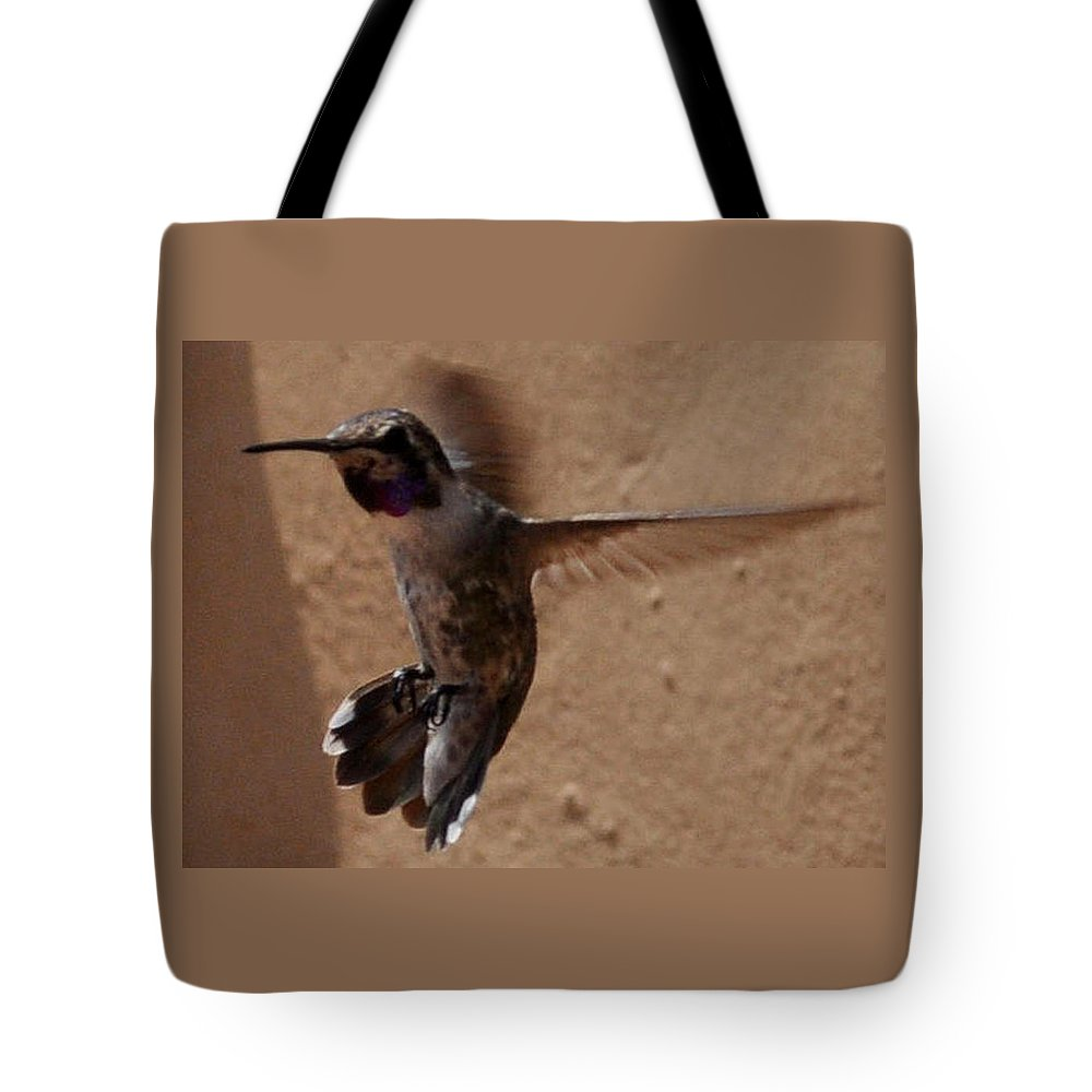 Hummingbird Tote Bag featuring the photograph Put On The Brakes by Jay Milo