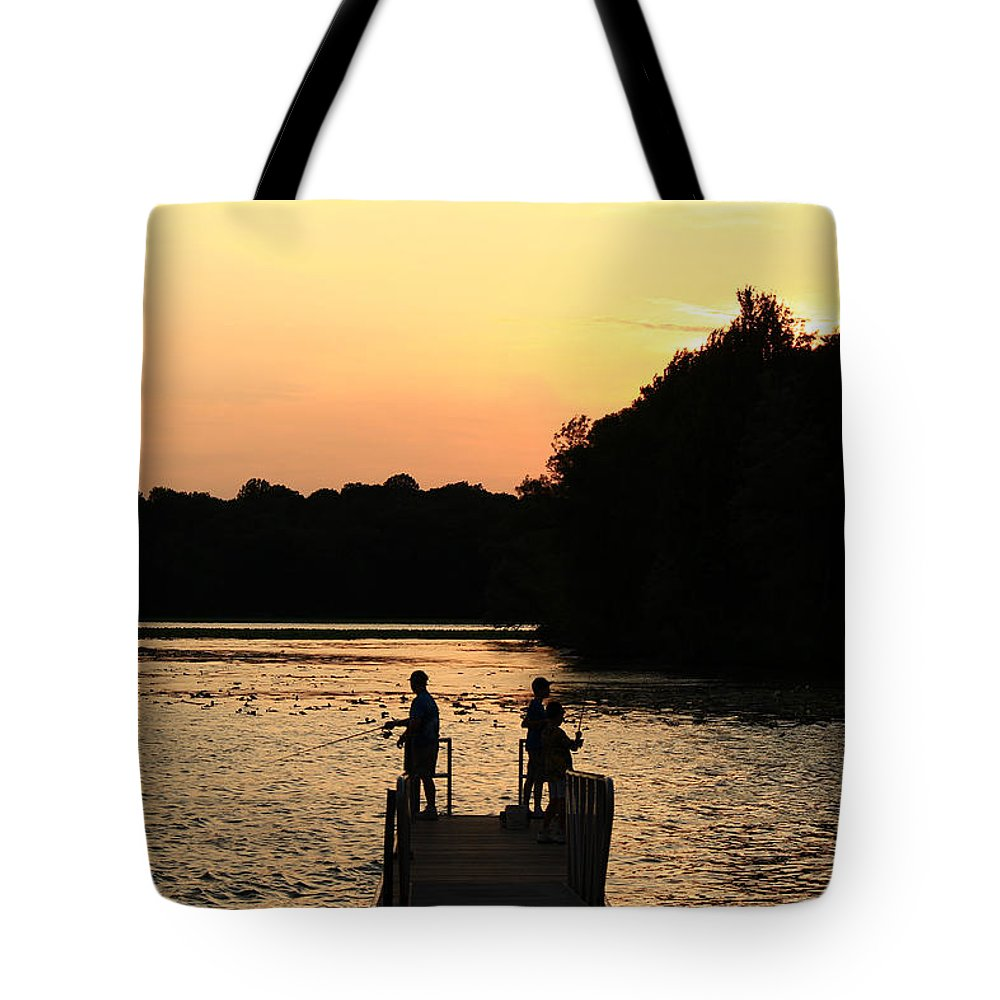 Lake Tote Bag featuring the photograph Pymatuning Silhouette by Jim Cotton