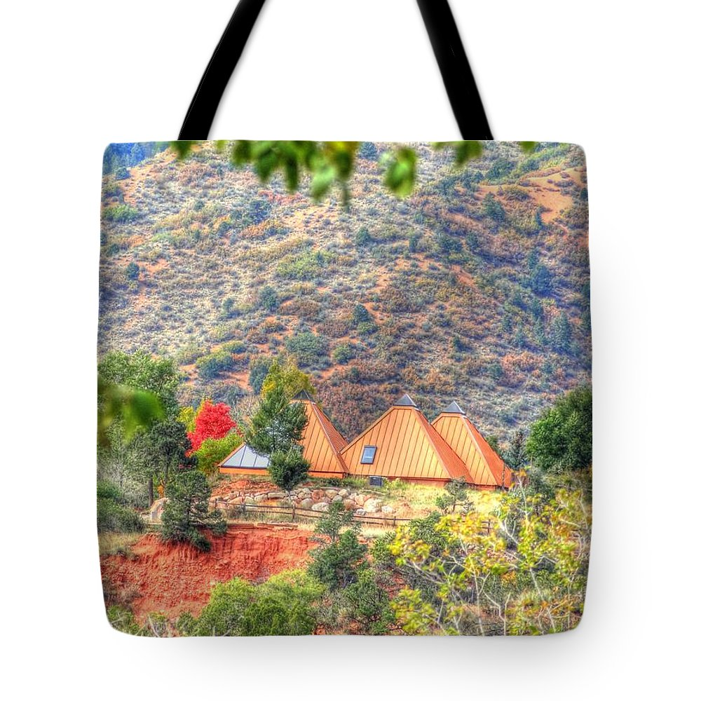 Pyramid Tote Bag featuring the photograph Pyramid Houses In Fall by Lanita Williams