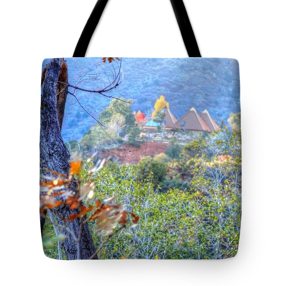 Pyramid Tote Bag featuring the photograph Pyramid Houses In Fall Watercolors by Lanita Williams
