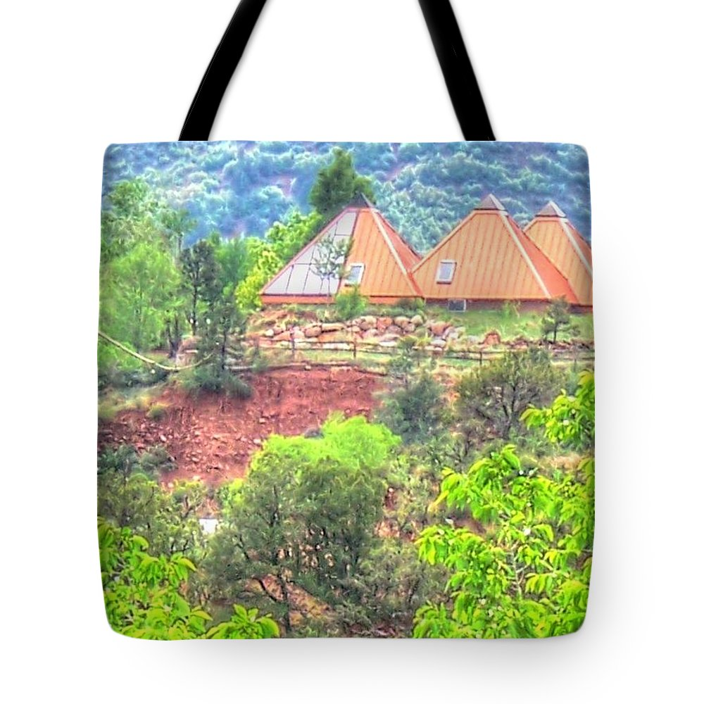 Pyramid Tote Bag featuring the photograph Pyramid Houses In Spring II by Lanita Williams