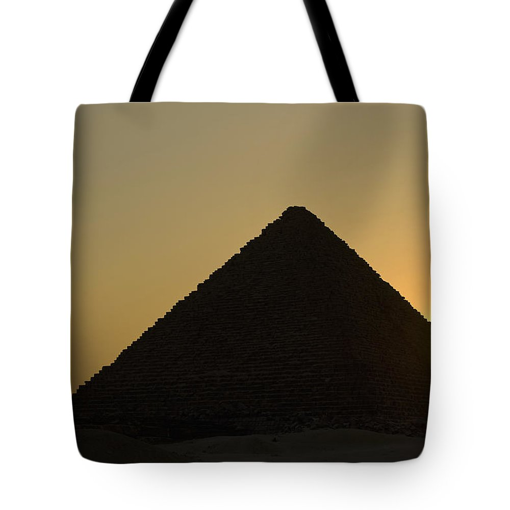 Structure Tote Bag featuring the photograph Pyramids At Dusk by Ian Cumming
