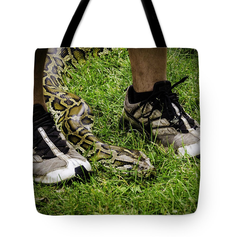 Python Tote Bag featuring the photograph Python Snake In The Grass And Running Shoes by LeeAnn McLaneGoetz McLaneGoetzStudioLLCcom