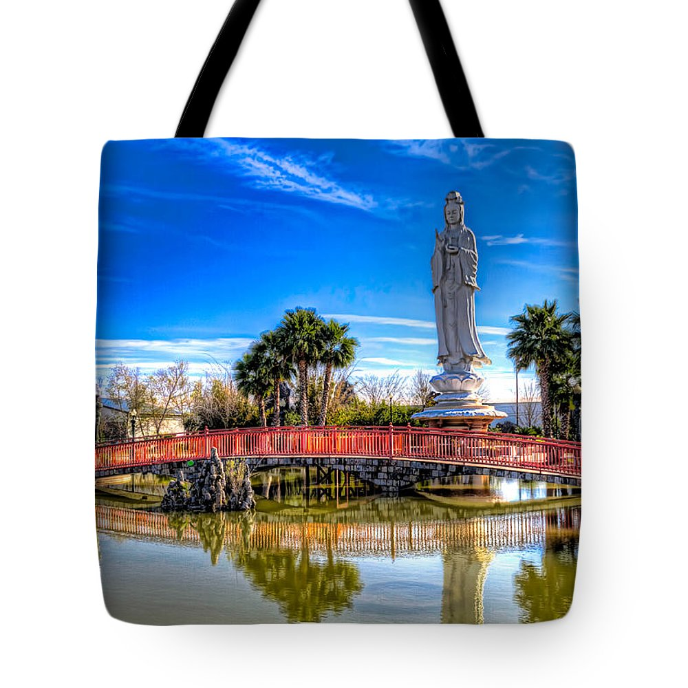 Quan Tote Bag featuring the photograph Quan Am Sculpture by Tim Stanley
