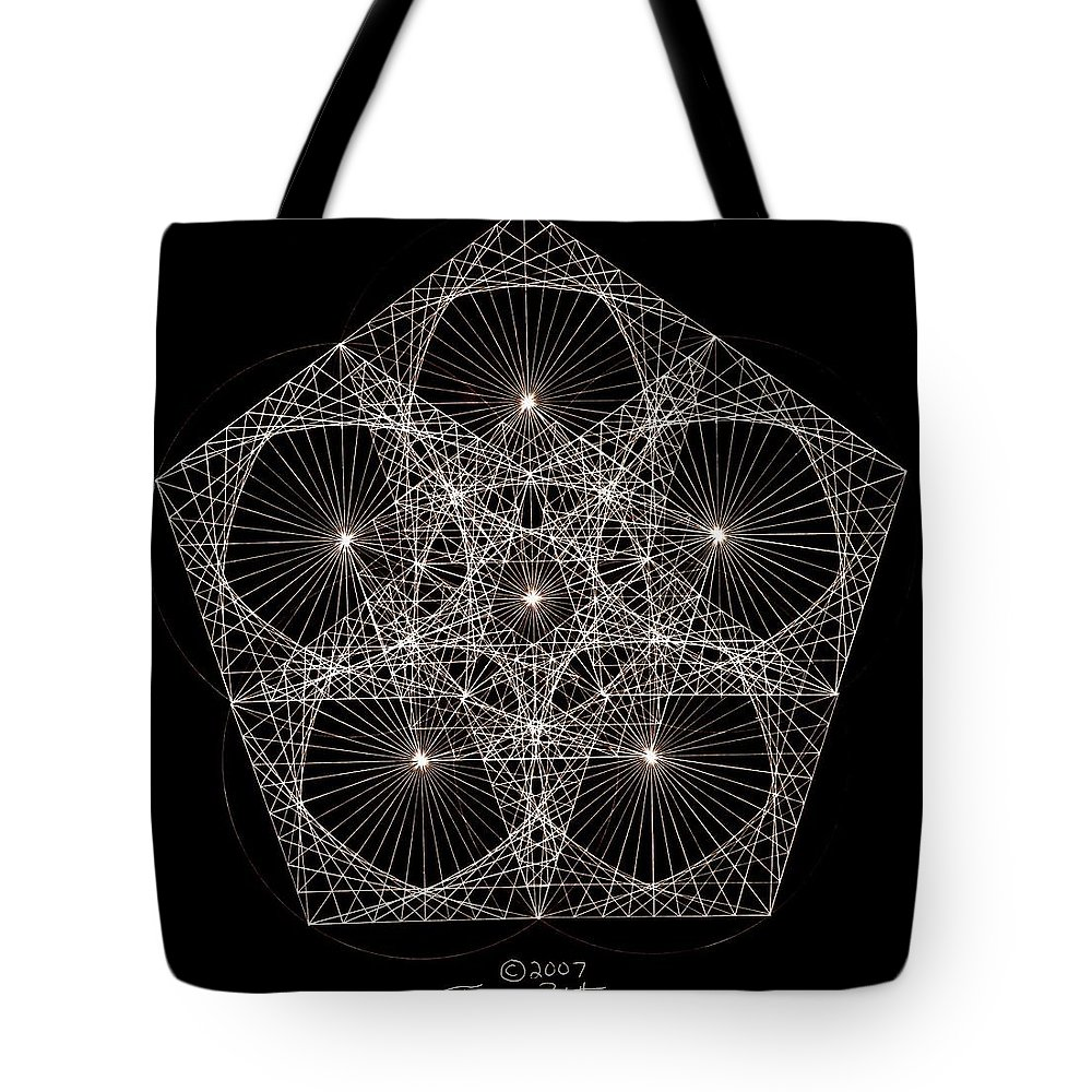Star Tote Bag featuring the drawing Quantum Star II by Jason Padgett