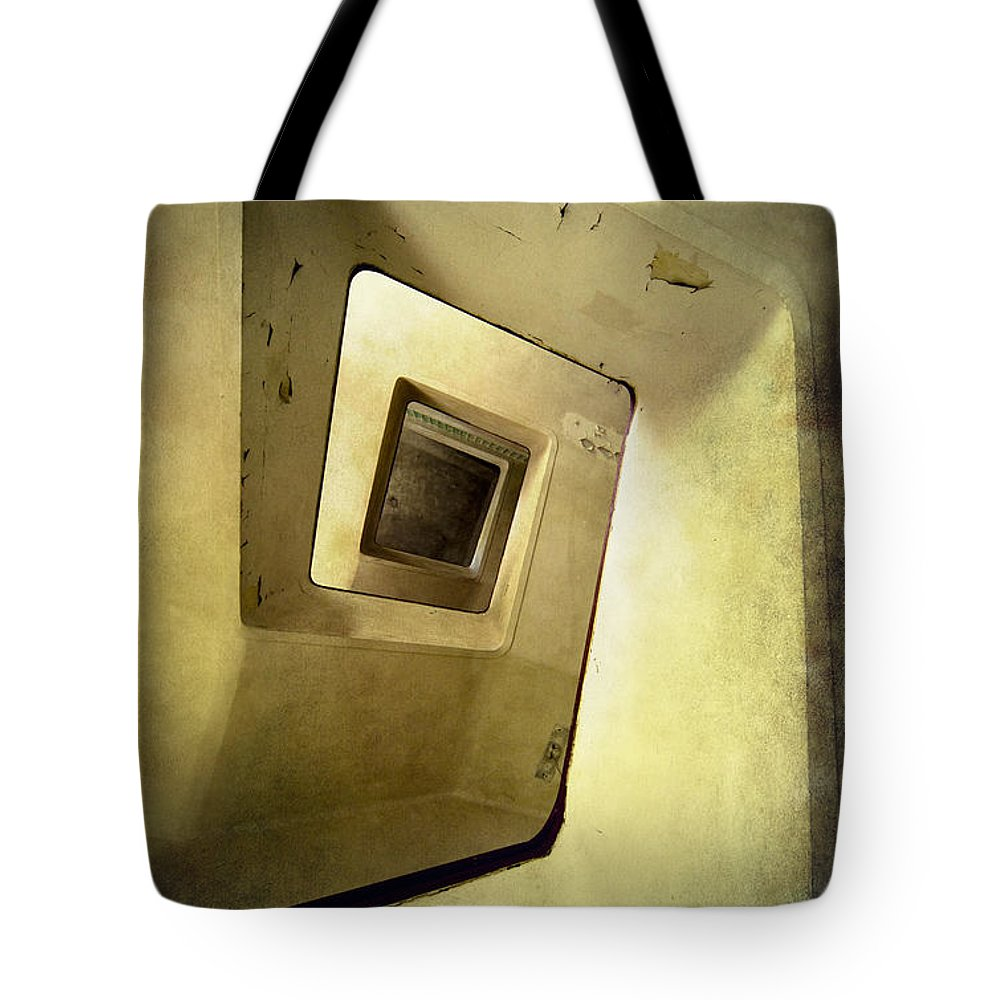 Architecture Spiral Tote Bag featuring the photograph Square Staircase by Jaroslaw Blaminsky
