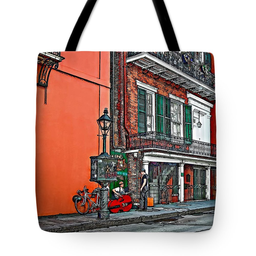 French Quarter Tote Bag featuring the photograph Quarter Time Painted 2 by Steve Harrington