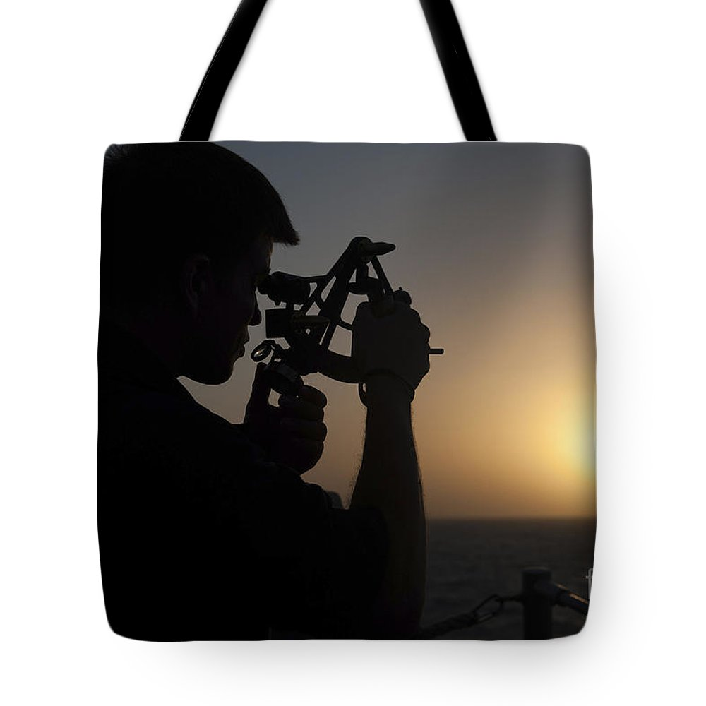 Military Tote Bag featuring the photograph Quartermaster Uses A Statometer Aboard by Stocktrek Images