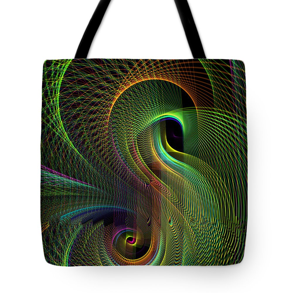 Abstract: Color; Abstract: Geometric; Science Fiction & Fantasy: Dreamscapes; Science Fiction & Fantasy: Space Tote Bag featuring the digital art Quasarama by Ann Stretton