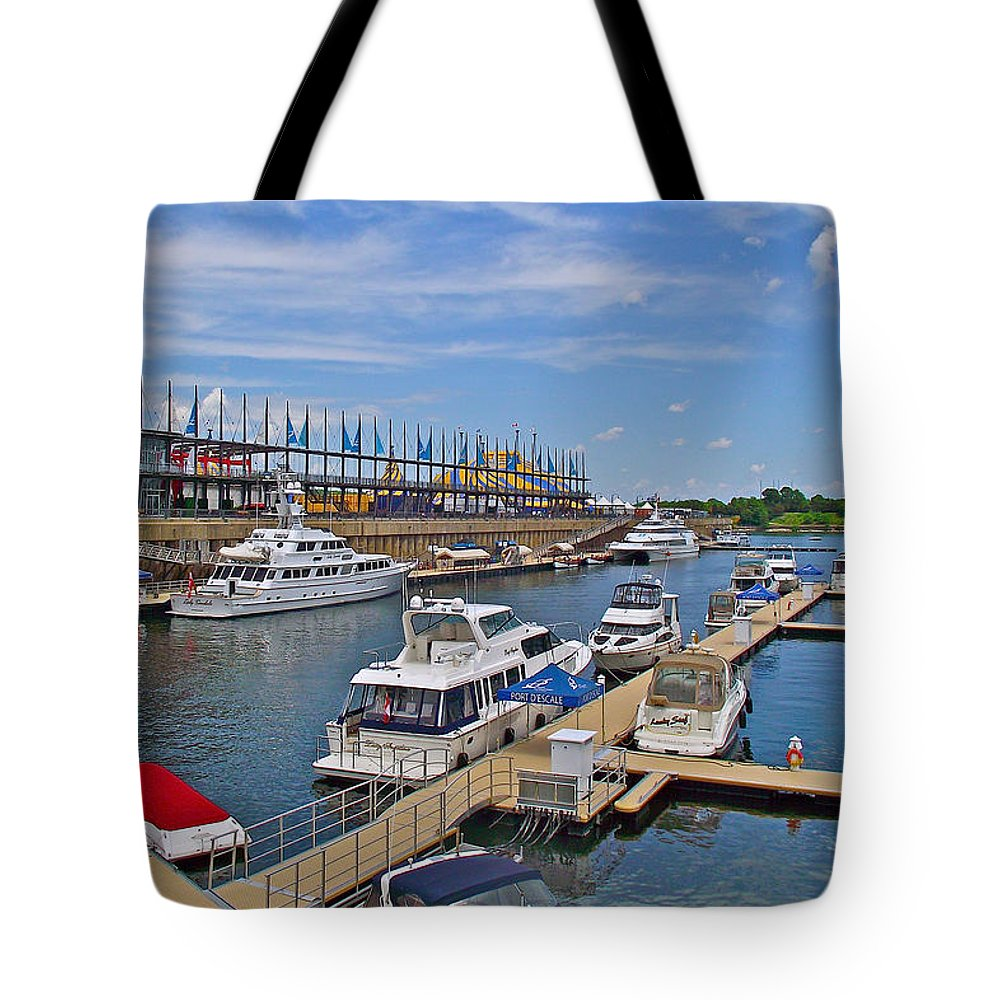 Quays Along Saint Lawrence River In Montreal Tote Bag featuring the photograph Quays Along Saint Lawrence River In Montreal-qc by Ruth Hager