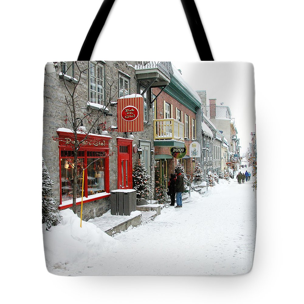 Quebec City Photographs Tote Bags
