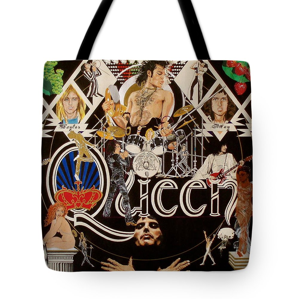 Freddie Mercury;brian May;roger Taylor;john Deacon;guitars;crown;royal;grapes;strawberries;drums; Tote Bag featuring the drawing Queen - Black Queen White Queen by Sean Connolly