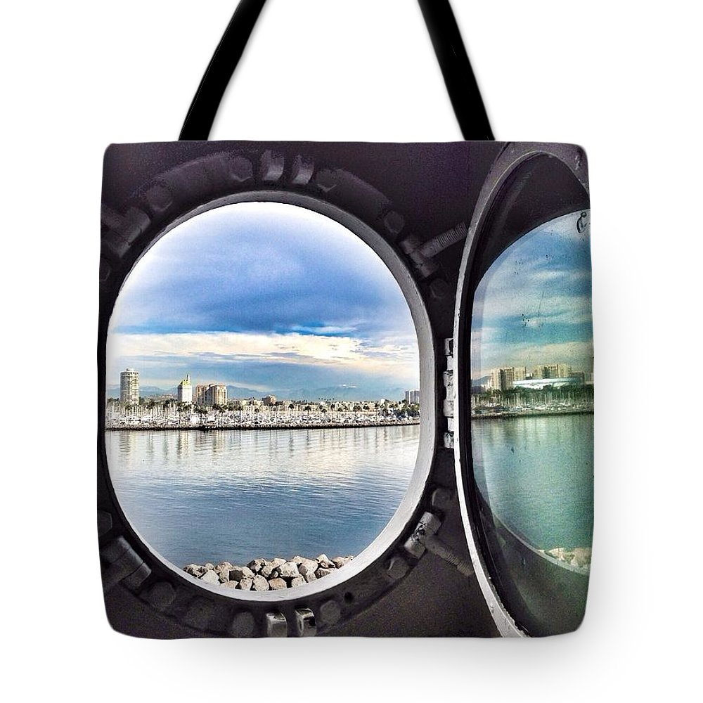 Queen Mary State Room Port Hole View Tote Bag featuring the photograph Queen Mary Starboard View by Susan Garren