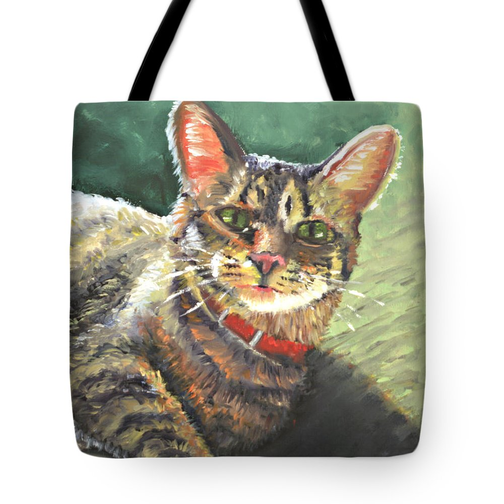 Cat Tote Bag featuring the painting Queen Of The House by Peter Bonk