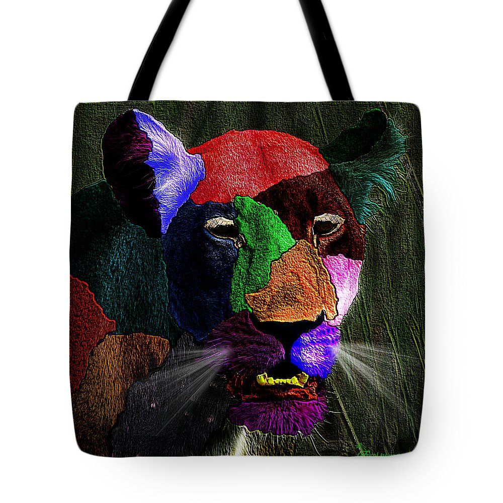 Lion Tote Bag featuring the photograph Queen Of The Jungle Featured In Harmony And Happiness-wildlife-nature Photography Groups by Ericamaxine Price