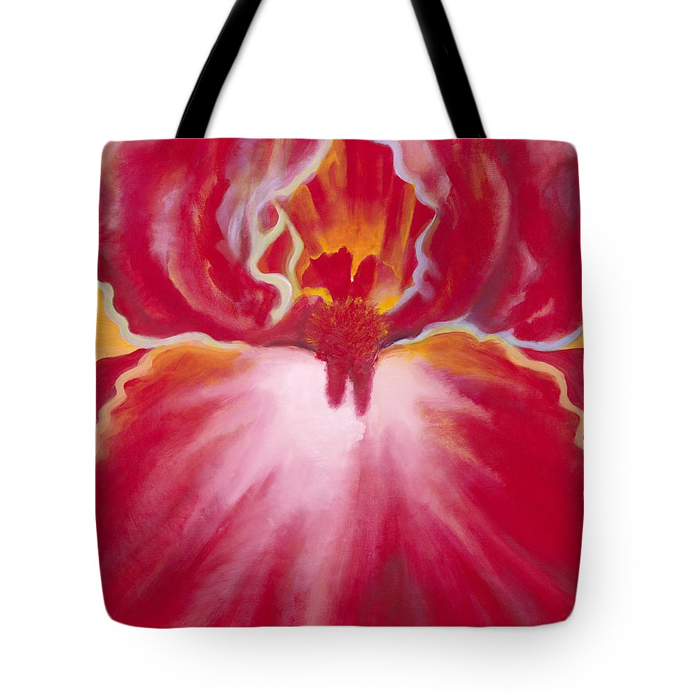 Beautiful Tote Bag featuring the painting Queen Red Iris by Jerome Lawrence