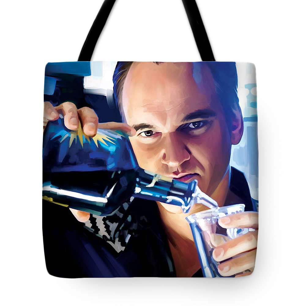 Quentin Tarantino Paintings Tote Bag featuring the painting Quentin Tarantino Artwork 1 by Sheraz A