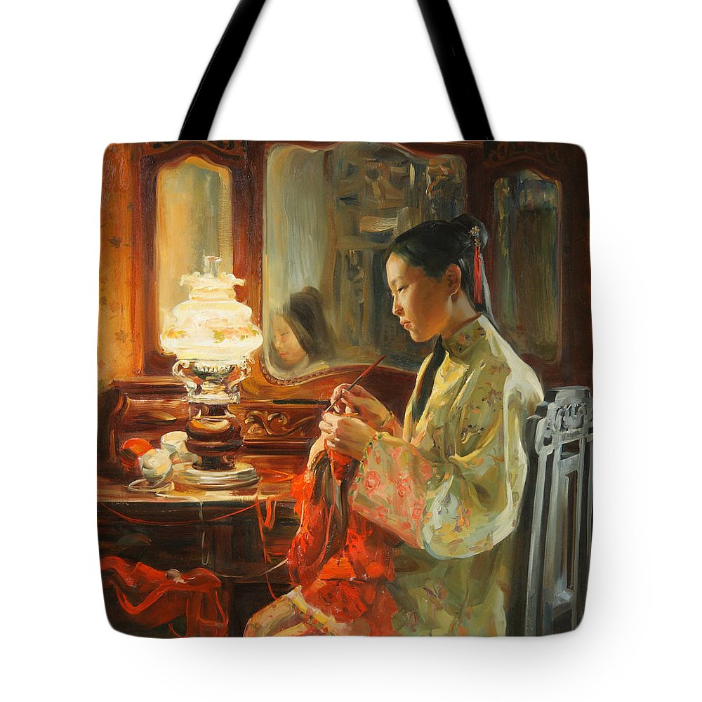 China Tote Bag featuring the painting Quiet Evening by Victoria Kharchenko