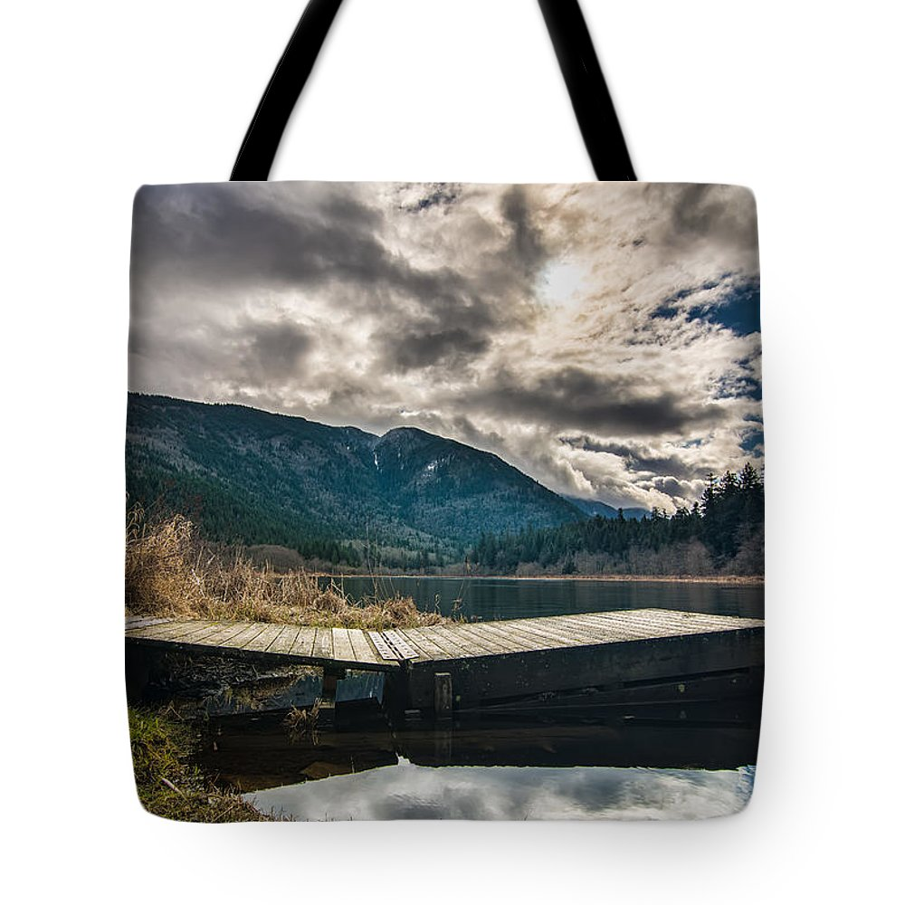 Beautiful Tote Bag featuring the photograph Quiet Lake Dock by James Wheeler