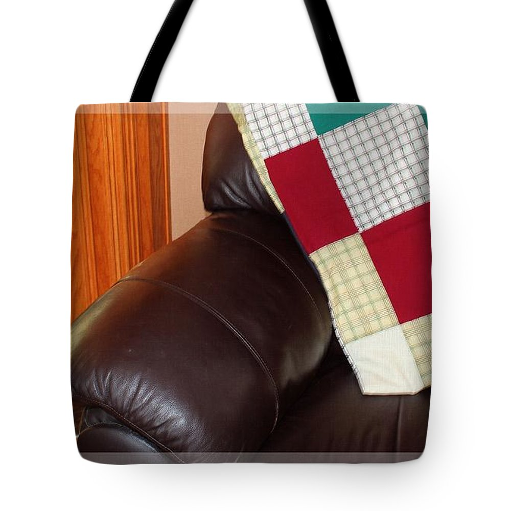 Quilt Beside A Fireplace Tote Bag featuring the photograph Quilt Beside A Fireplace by Barbara Griffin