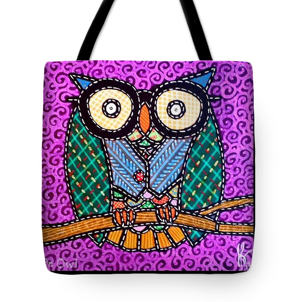 Owl Tote Bag featuring the painting Quilted Dr Owl by Jim Harris