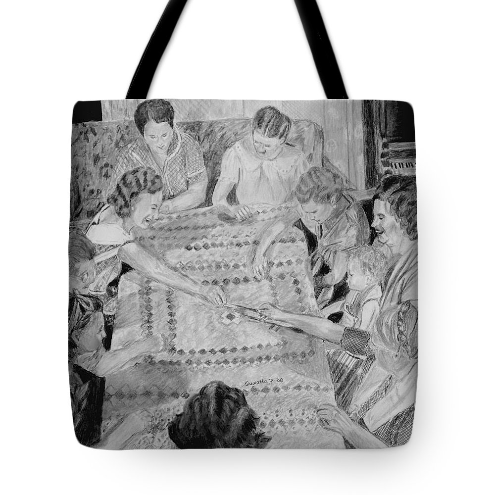 People Tote Bag featuring the drawing Quilting Bee by Quwatha Valentine